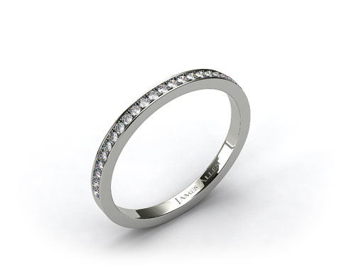 14k White Gold 2mm, 26 Stone, 0.18ctw Matching Pave Wedding Band